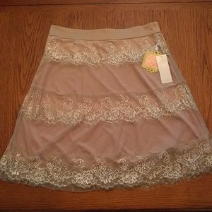 Pink/Taupe lace skirt